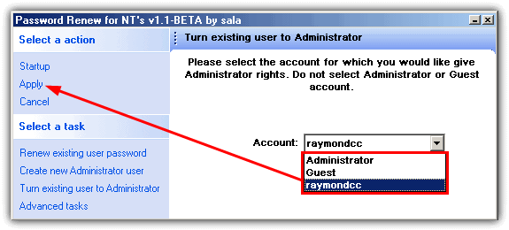 turn existing user to administrator