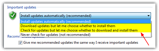Change auto download and install windows update