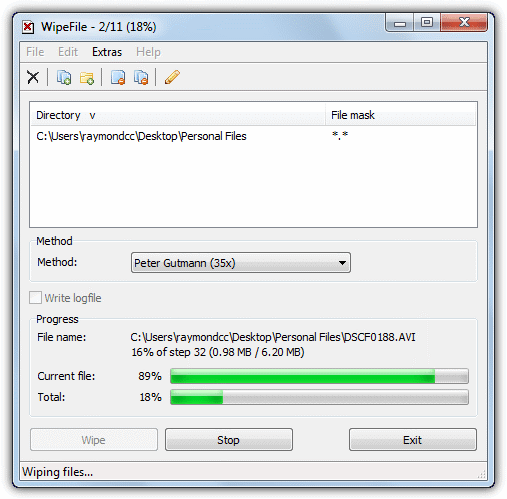 wiping files and folders with wipefile