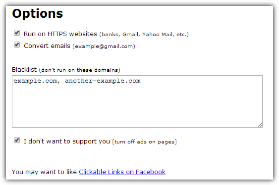 clickable links for chrome