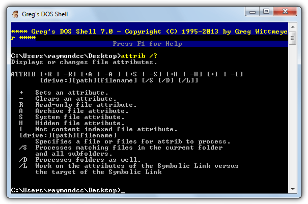 gregs dos shell replacement cmd