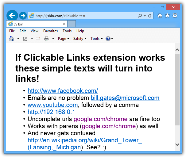 ie linkification on windows 8