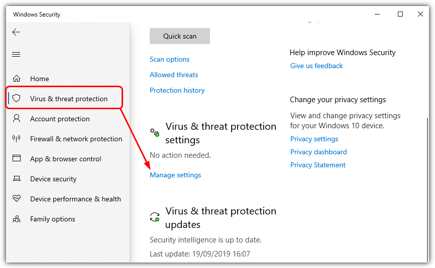 manage virus threat protection