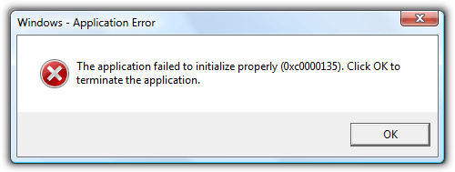 The application failed to initialize properly 0x0000135