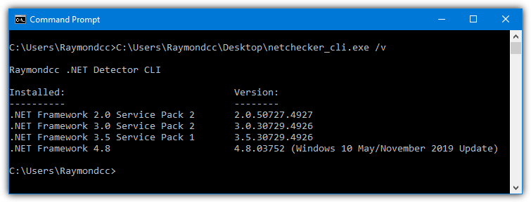 Raymondcc .net detector cli versions