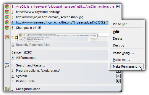 Arsclip clipboard manager