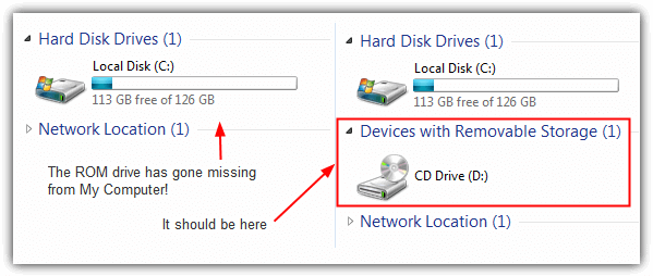 cd/dvd drive missing from my computer