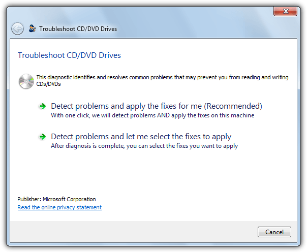 microsoft fixit to troubleshoot cd drives