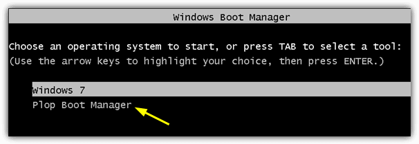 Windows boot manager Plop