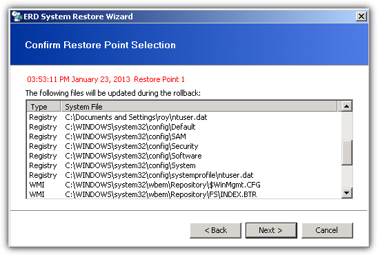 Confirm restore point selection