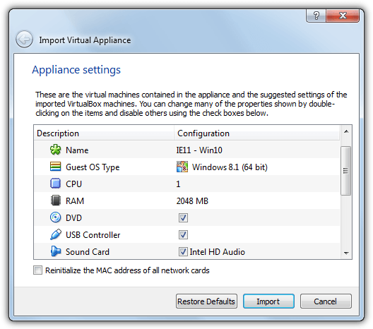 import virtual appliance