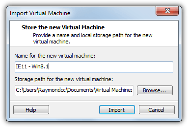 import vmware virtual machine