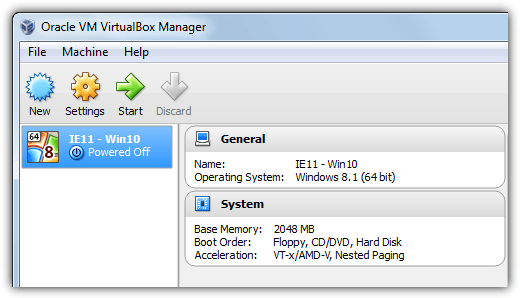 start the virtual machine