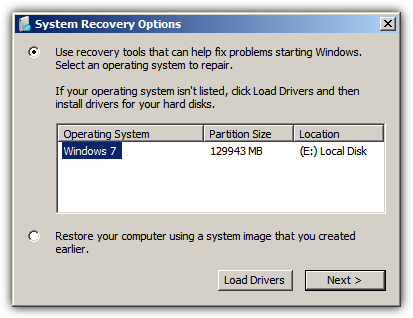 select an operating system to repair