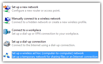 connect ad hoc network
