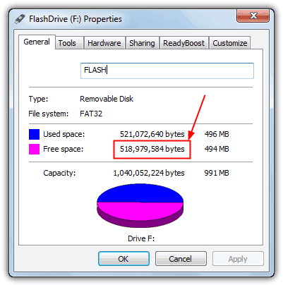 Removable Drive Free Space