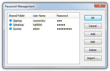 Lan search pro password management