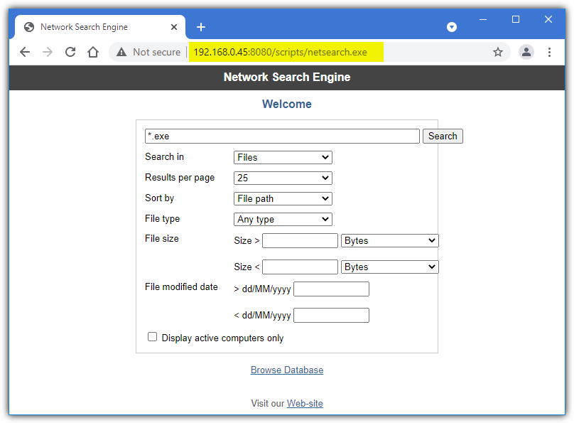 Network search engine web