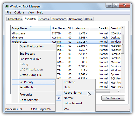 task manager change priority