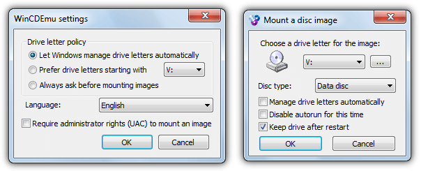 WinCDEmu mount iso options