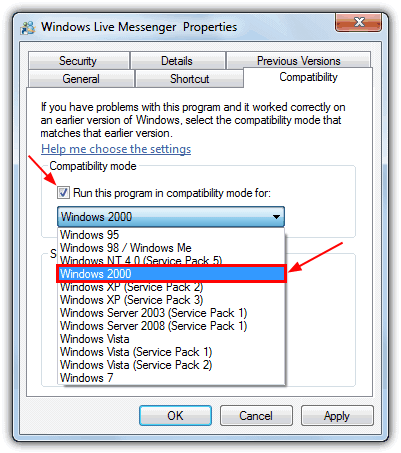 run Windows Live Messenger compatibility mode