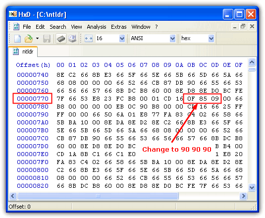 Editing NTLDR in a hex editor
