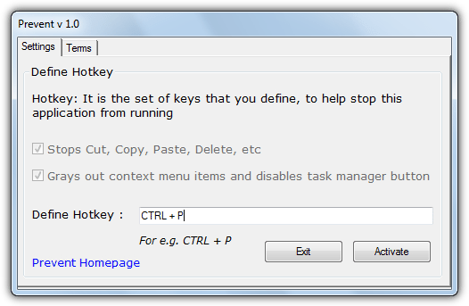 Prevent application stops cut copy paste