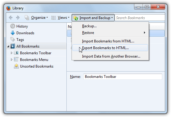 firefox export bookmarks html