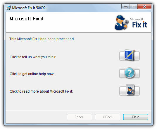 Microsoft Fix it 50692