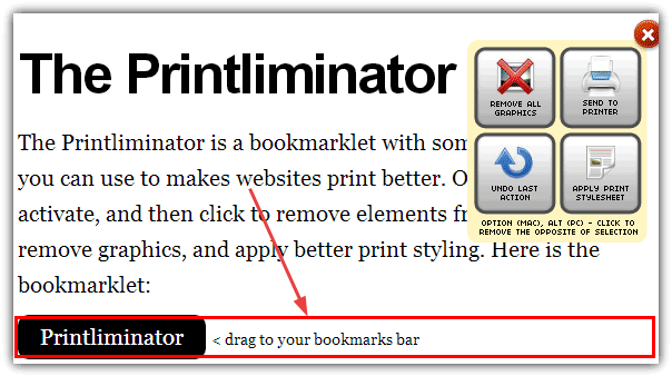 the Printliminator toolbar and box