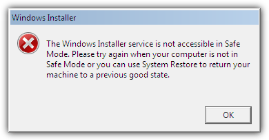 Windows Installer service is not accessible in Safe Mode