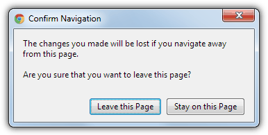 Chrome Confirm Navigation window
