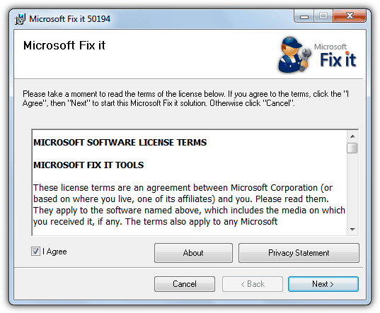 Microsoft Fix it 50194