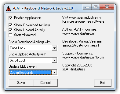 xCat Keyboard Network Leds configuration window