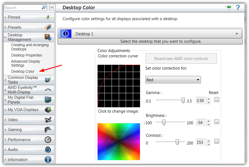 Amd Catalyst Control Center color settings