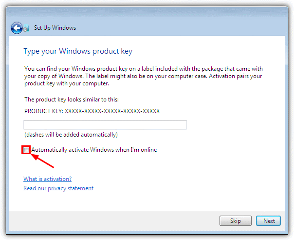 windows 7 product key screen