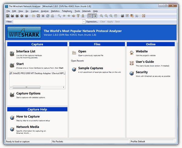 Wireshark main interface