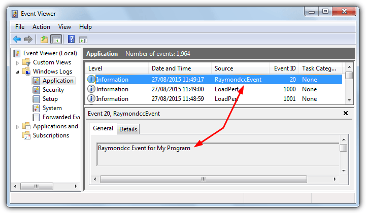 custom event viewer entry