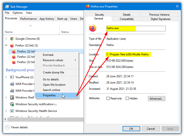 Task manager properties