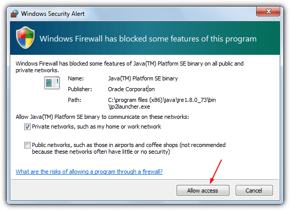 allow java firewall access