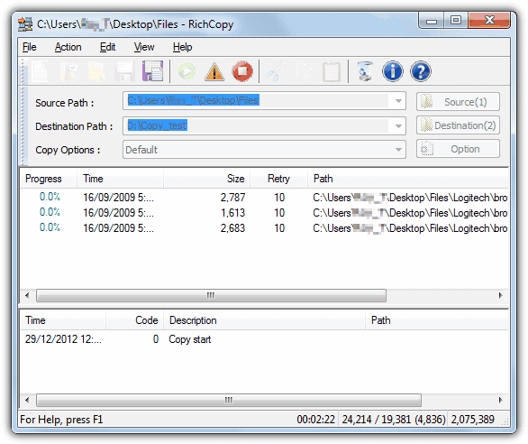 robocopy pour windows 7