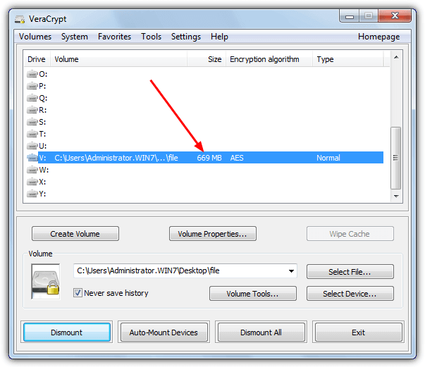 mounted veracrypt volume