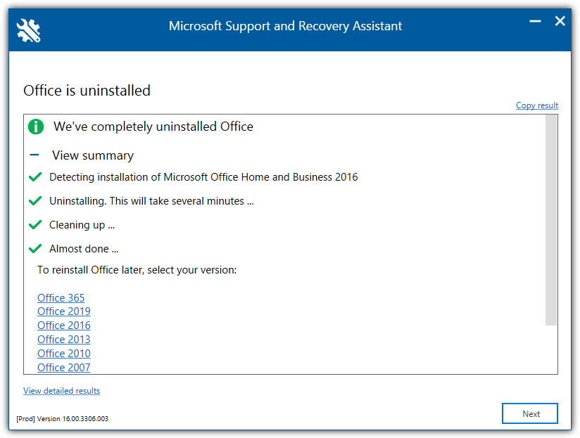 Microsoft Office Uninstall Support Tool