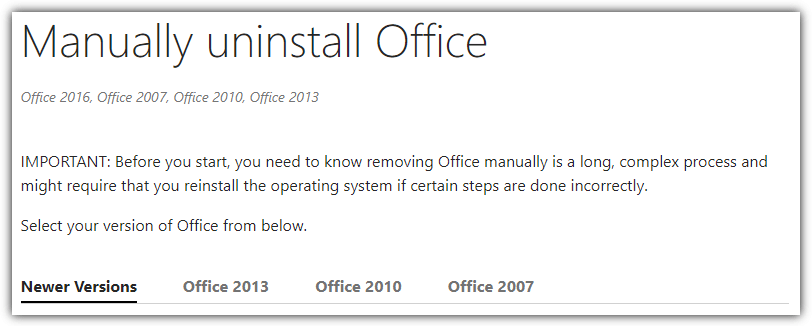 Uninstall Microsoft Office Manually