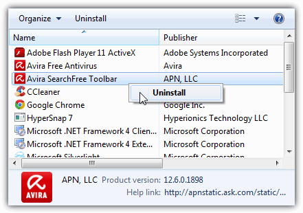 uninstall searchfree toolbar