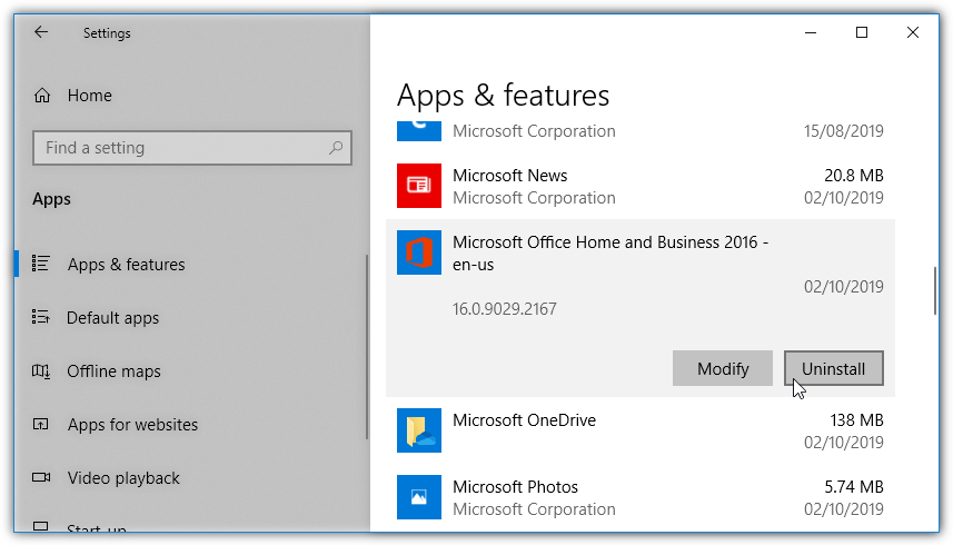 uninstall office from the apps list