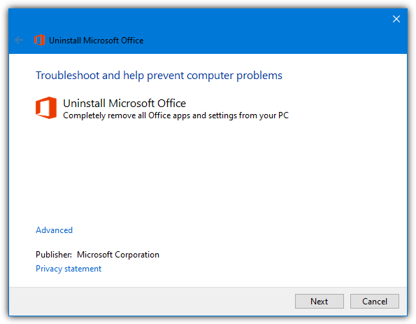 uninstall office troubleshooter