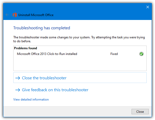 uninstall office troubleshooter process complete