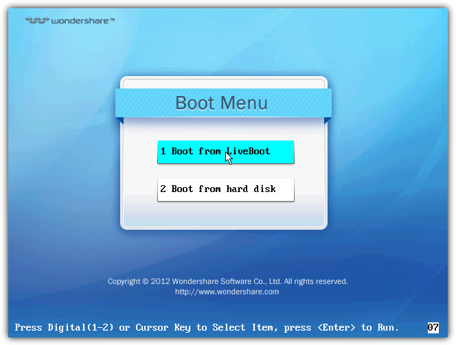 boot from liveboot