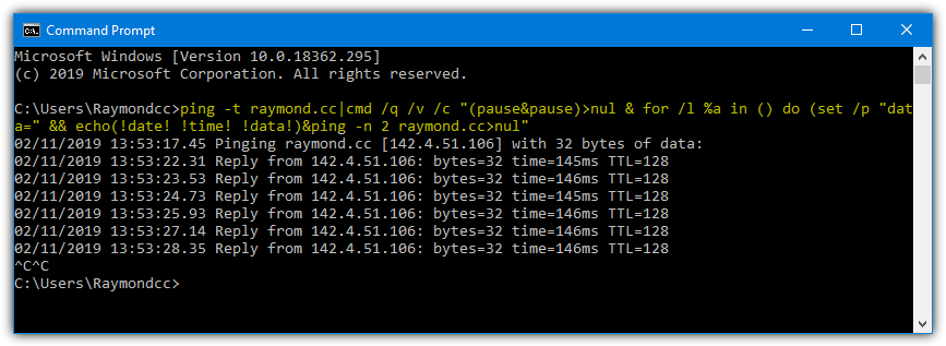 Command prompt ping timestamp